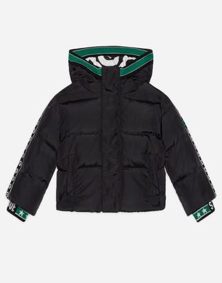 Dolce & Gabbana Short Nylon Down Jacket With Logo Print Lining