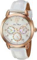 Lucien Piccard Women's 'Rivage' Quartz Stainless Steel and Leather Casual Watch, Color: (Model: LP-40038-RG-02MOP-WHS)