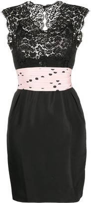 Chanel Pre Owned Lace Panel Dress