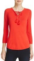 T Tahari Gianna Lace-Up V-Neck Sweater