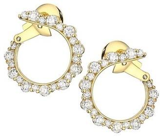 Plevé Integre 18K Yellow Gold & Diamond Forward-Facing Hoop Earrings