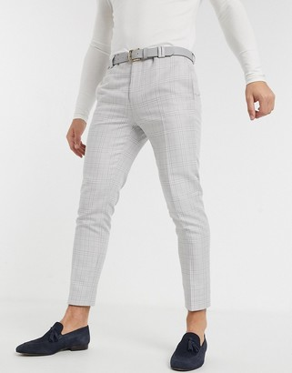 Viggo tapered cropped pants in light gray check
