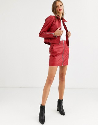 Lab Leather zip through mini skirt-Red