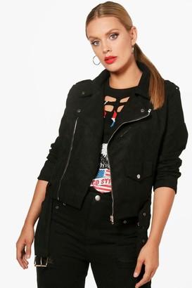 boohoo Plus Belted Suedette Jacket