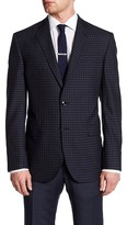 Ted Baker Jay Navy Checkered Two Button Notch Lapel Wool Jacket