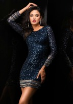 Scala 48356 Sequined Jewel Neck Sheath Dress