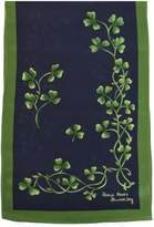 Patrick Francis Shamrock Silk Scarf Navy & Green Sprig Made in Ireland