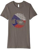 Women's Czech Roots Flag Pride Tree Shirt Large