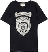 Gucci Black Tiger-print Cotton T-shirt