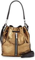 Elizabeth and James Cynnie Mini Embossed-Leather Bucket Bag, Bronze