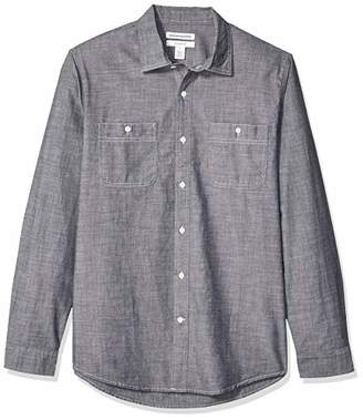 Amazon Essentials Slim-fit Long-sleeve Chambray Shirt Button,(EU L)