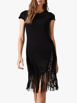 Phase Eight Ferne Sequin Embroidery Long Fringe Dress, Black