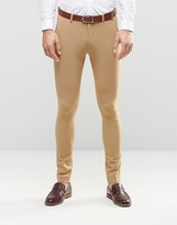Asos Super Skinny Fit Suit Trousers In Camel