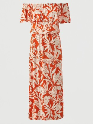 Very Bardot Frill Jersey Midi Dress - Orange Print