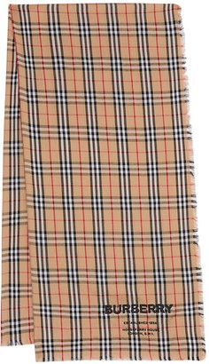 Burberry Embroidered Logo Check Cashmere Scarf