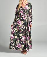 Tua Black & Purple Floral Long-Sleeve Maxi Dress - Plus
