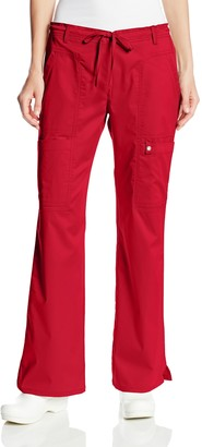 Cherokee Women's Petite Scrubs Luxe Jr. Fit Low Rise Drawstring Cargo Pant