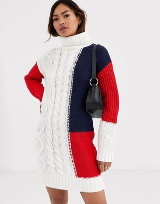 Brave Soul mixture jumper dress-Cream