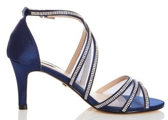Dorothy Perkins Womens Quiz Blue Diamante Mid Heel Sandals, Blue
