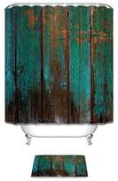 Country Rustic Distressed Teal Green Barn Wood Fa Bathroom Shower Curtain Set with Bath Mats Rugs