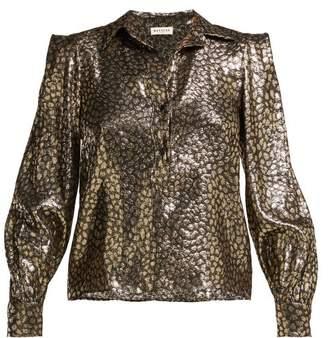 Masscob Levisa Metallic Silk Blend Shirt - Womens - Black Gold