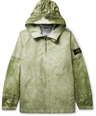 Stone Island Pigment-Dyed Membrana And Oxford 3l Half-Zip Hooded Anorak