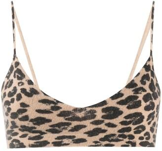 Laneus Knitted Leopard-Print Bralette