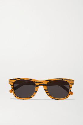 Saint Laurent Square-frame Tiger-print Acetate Sunglasses - Orange