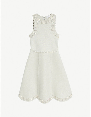 Sandro Ariane faux pearl-embellished knitted midi dress