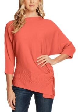Vince Camuto Petite Dolman-Sleeve Side-Twist Rib Asymmetrical Sweater