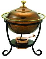 Old Dutch 3 qt. 12 in. x 15 in. Round Antique Copper over Stainless Steel Chafing Dish