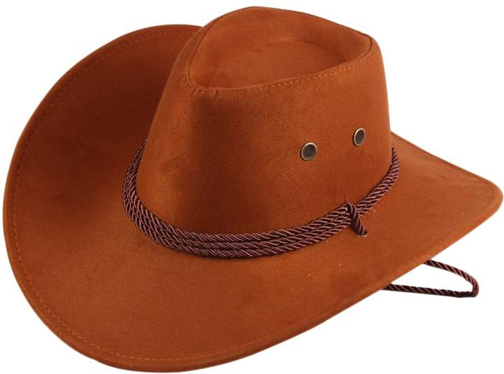 45c491ba1 UwantC Mens Faux Felt Western Cowboy Hat Fedora Outdoor Wide Brim Hat with  Strap