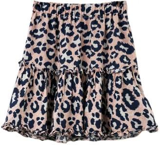 Goodnight Macaroon 'Lidy' Leopard Frilled Layered Mini Skirt