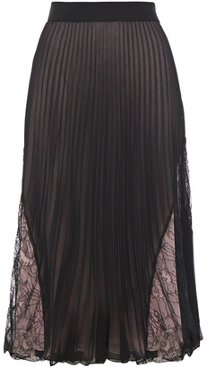 Boutique Moschino Lace-paneled Pleated Georgette Midi Skirt