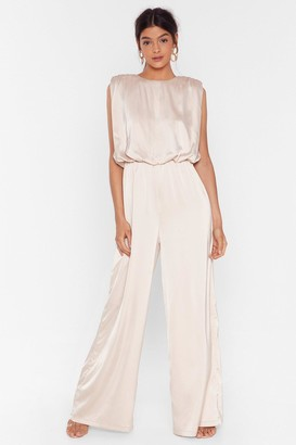 Nasty Gal Womens Final Credits Satin Wide-Leg Jumpsuit - beige - 12