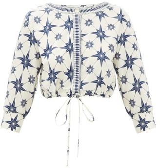 Le Sirenuse, Positano - Emma Cropped Star-print Cotton Top - Blue Print