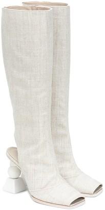 Jacquemus Les Bottes Olive knee-high boots