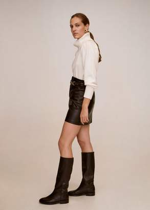 MANGO Leather boots with tall leg black - 6 - Women
