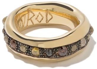 Hunrod 18kt yellow gold and diamond Enki band ring