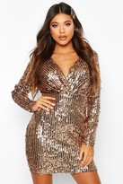 boohoo Stripe Sequin Long Sleeve Wrap Bodycon Dress