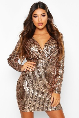 boohoo Stripe Sequin Long Sleeve Wrap Bodycon Dress