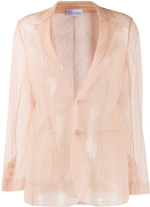 RED Valentino Sheer Mesh Single-Breasted Jacket