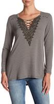Bobeau Long Sleeve Striped Crochet Shirt