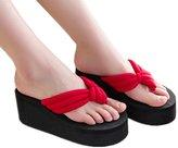 Huafeiwude Womens Beach Wedges Platform Flip-Flops Slippers Sandals 35