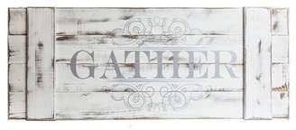 "Patton Wall Decor 16""x40"" Distressed Gather Wood Plank Wall Art White"