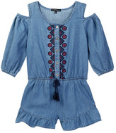 My Michelle mymichelle Embroidered Chambray Cold Shoulder Romper (Big Girls)
