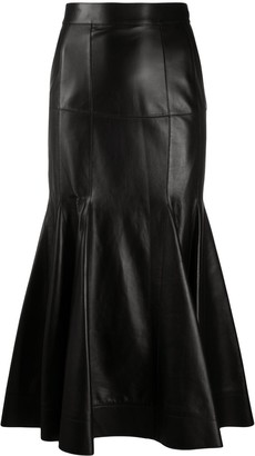 Loewe High-Waisted Leather Skirt