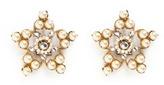 Miriam Haskell Crystal glass pearl filigree star clip earrings