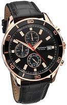 Sekonda 1051.27 Nightfall Chronograph Leather Strap Watch, Black