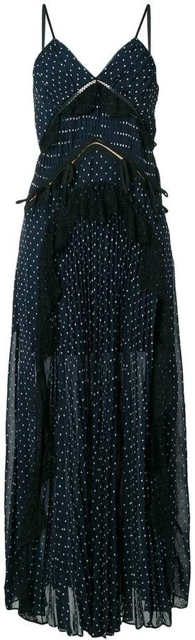 Self-Portrait polka dot maxi dress